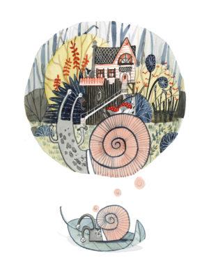 plakat dla dzieci - Śpiący ślimak