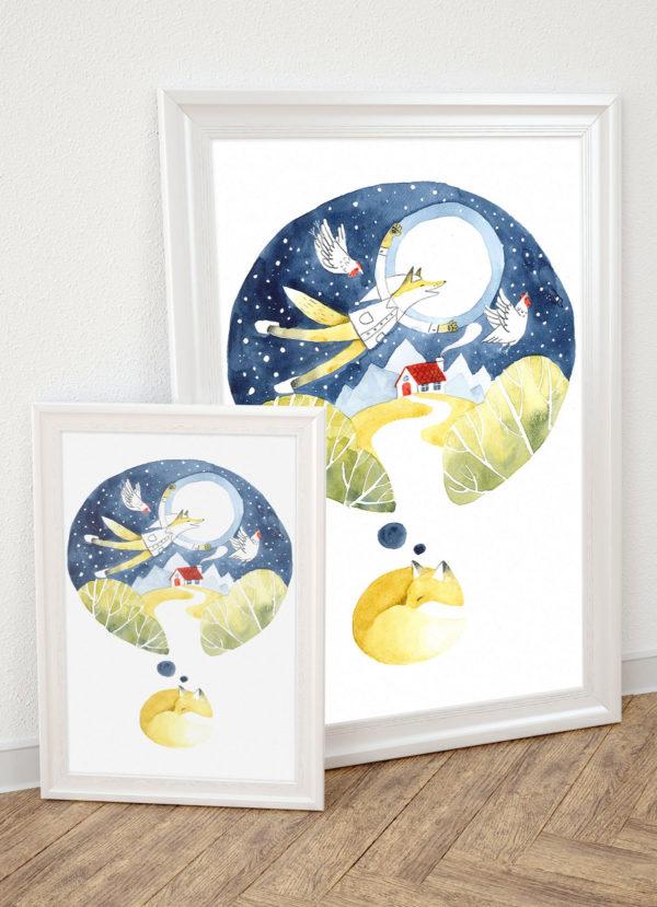 """plakat dla dzieci """"Śpiący lis"""""""