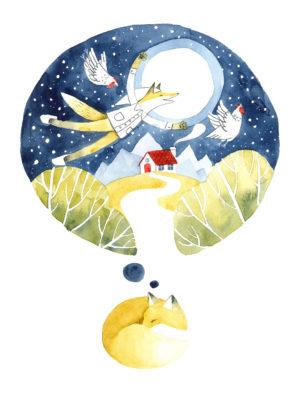 plakat dla dzieci - Śpiący lis
