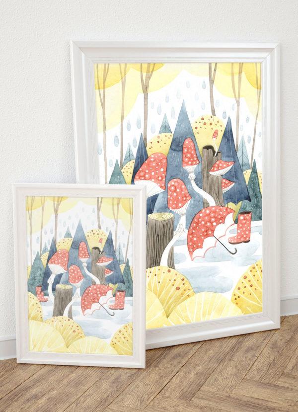 plakat dla dzieci Las deszczowy